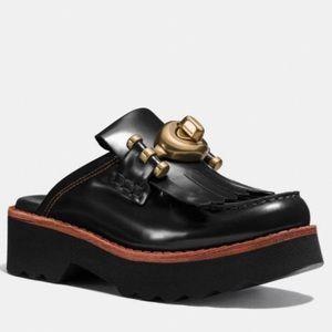 Coach black Turnlock Creeper Slide/Mules